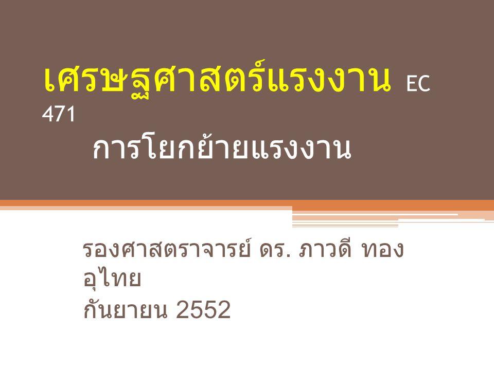 เศรษฐศาสตร์แรงงาน EC 471 การโยกย้ายแรงงาน