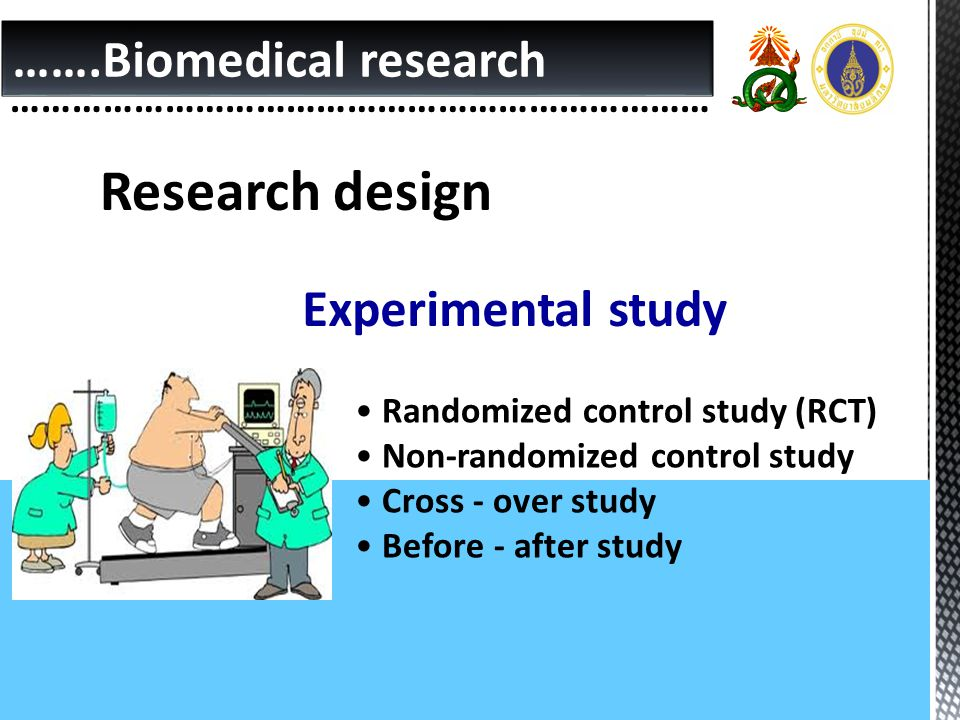 Research design …….Biomedical research Experimental study