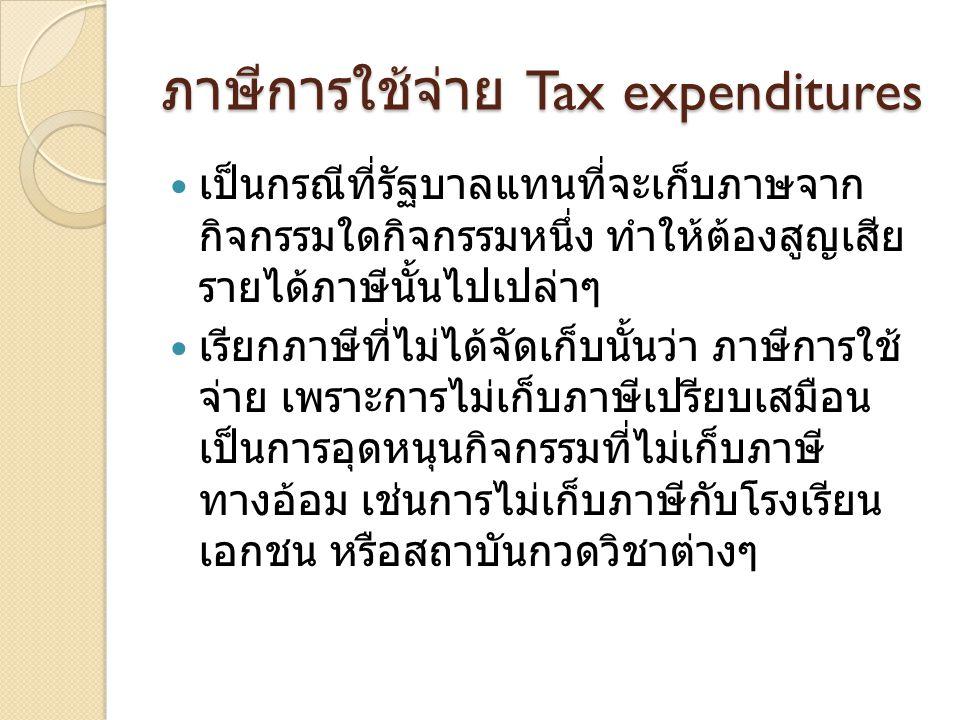 ภาษีการใช้จ่าย Tax expenditures