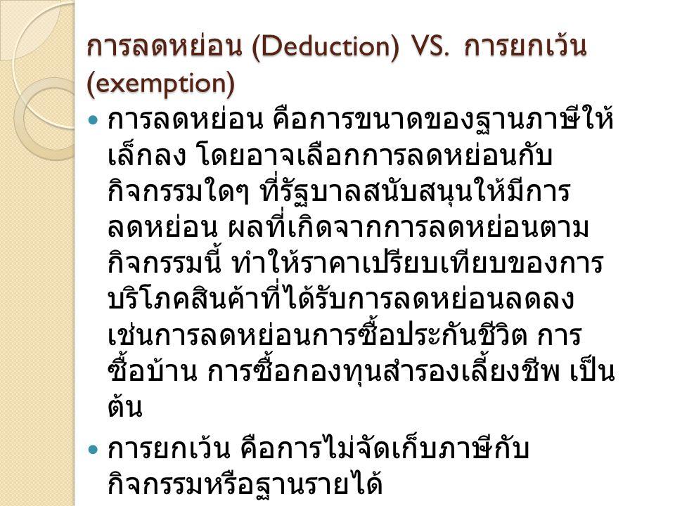การลดหย่อน (Deduction) VS. การยกเว้น (exemption)