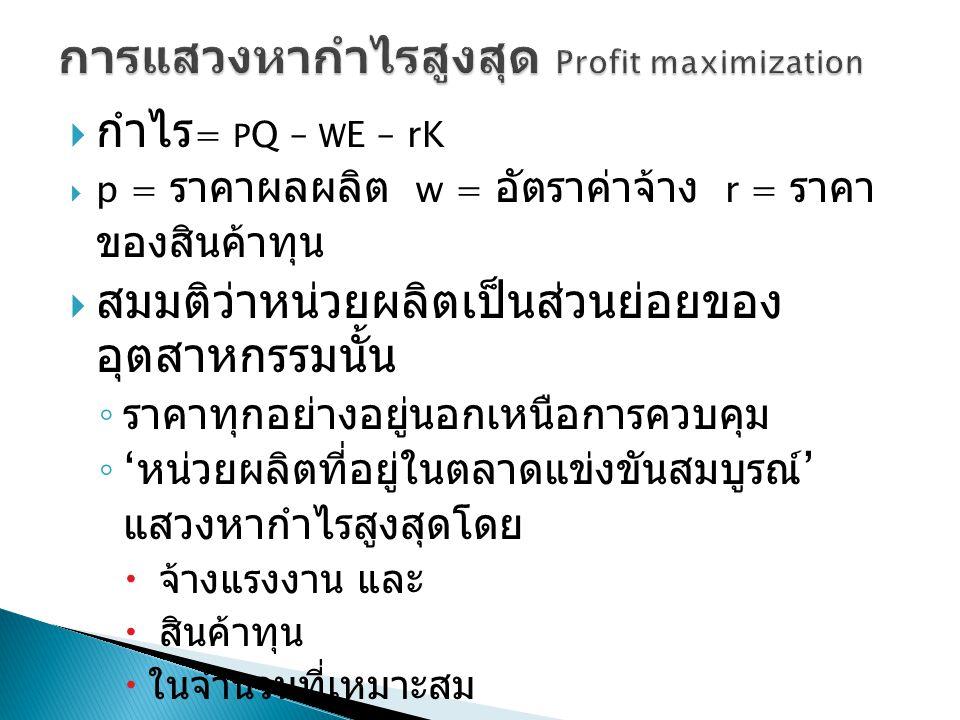 การแสวงหากำไรสูงสุด Profit maximization