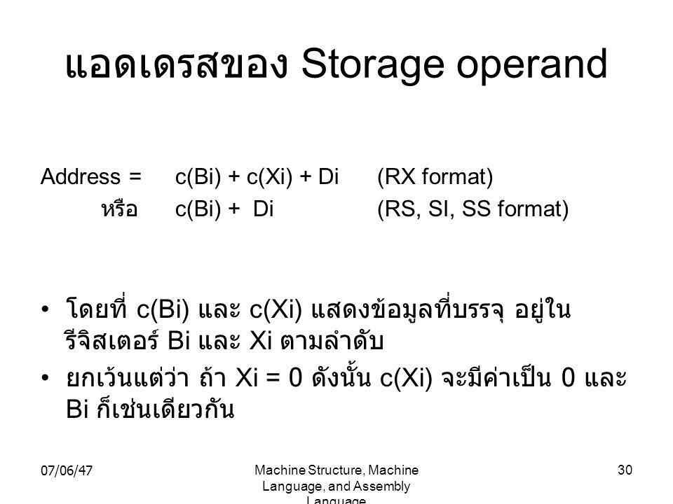 แอดเดรสของ Storage operand