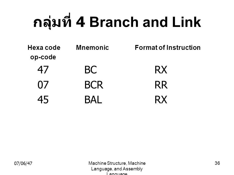 กลุ่มที่ 4 Branch and Link