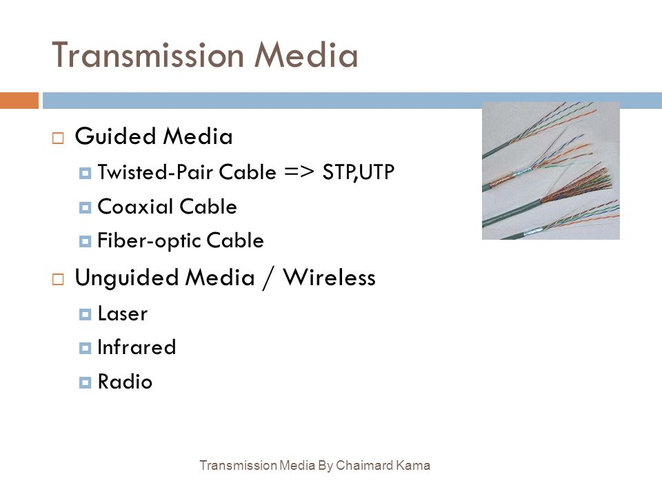 Transmission Media Guided Media Unguided Media / Wireless