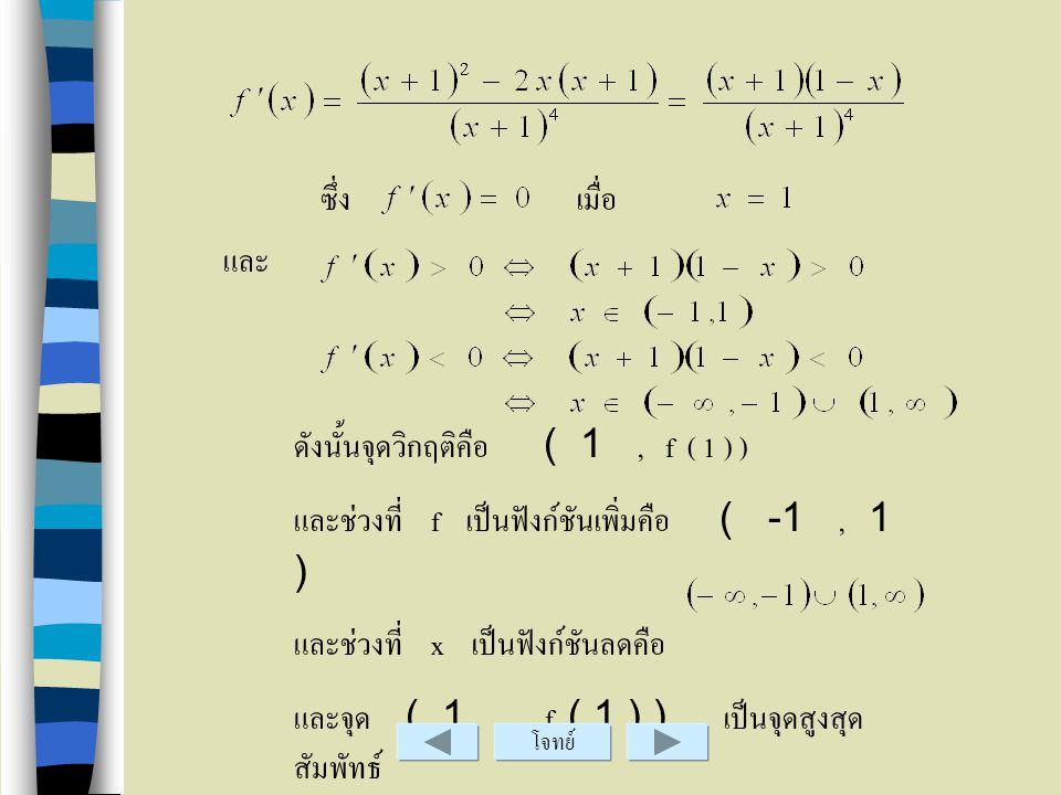 ดังนั้นจุดวิกฤติคือ ( 1 , f ( 1 ) )