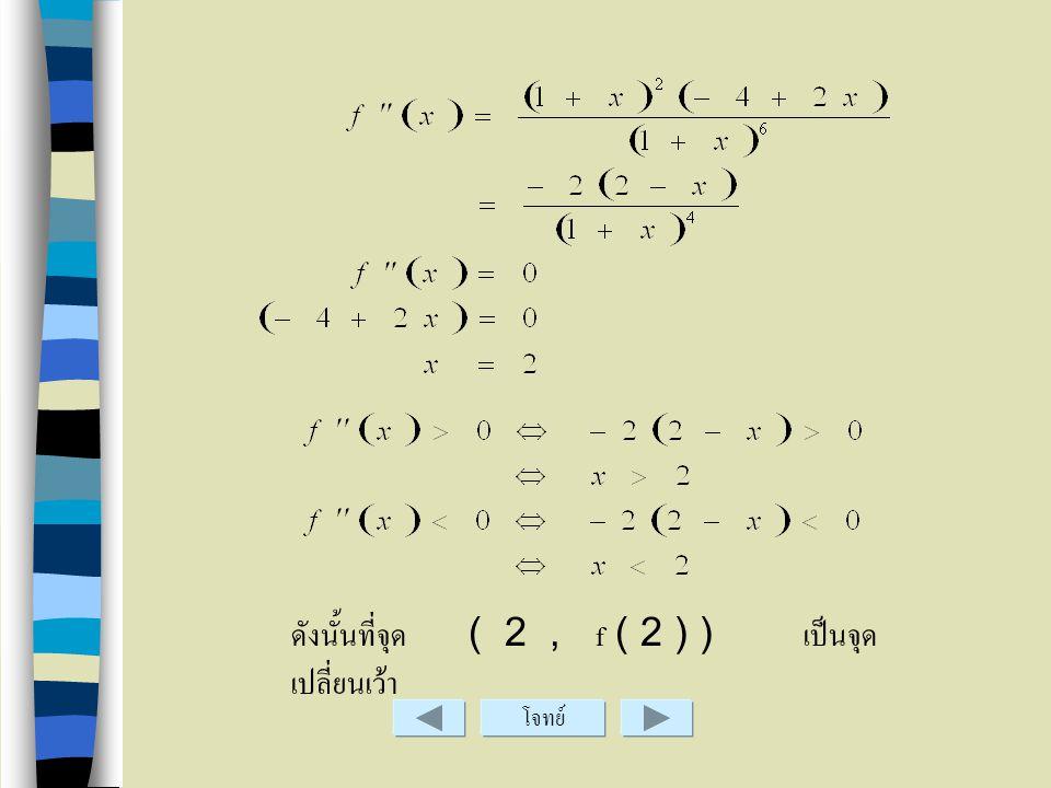 ดังนั้นที่จุด ( 2 , f ( 2 ) ) เป็นจุดเปลี่ยนเว้า
