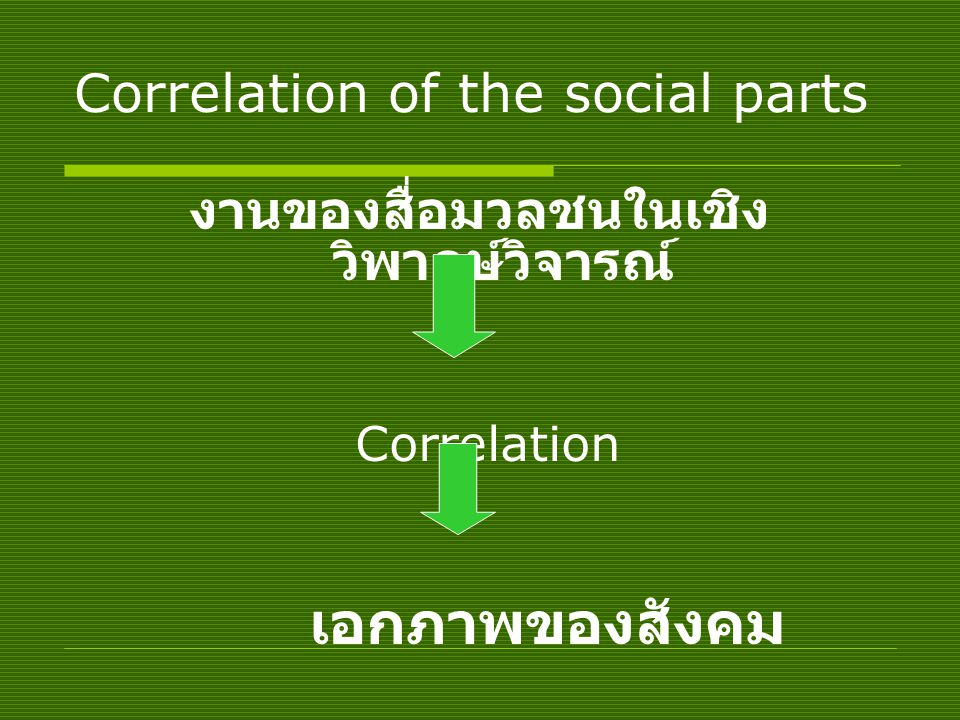 Correlation of the social parts