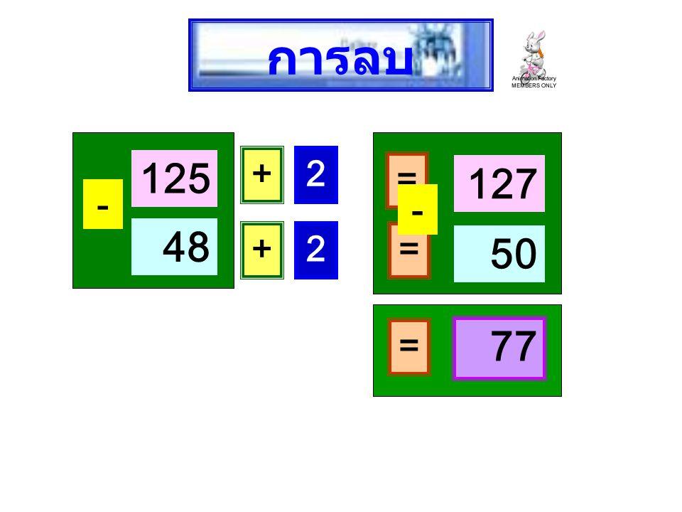 การลบ 125 + 2 = 127 - - 48 + 2 = 50 = 77