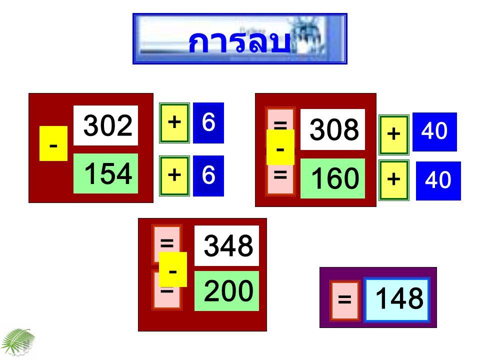 การลบ 302 + 6 = 308 + 40 - - 154 + 6 = 160 + 40 = 348 - = 200 148 =