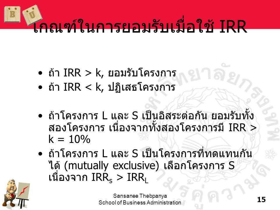 เกณฑ์ในการยอมรับเมื่อใช้ IRR