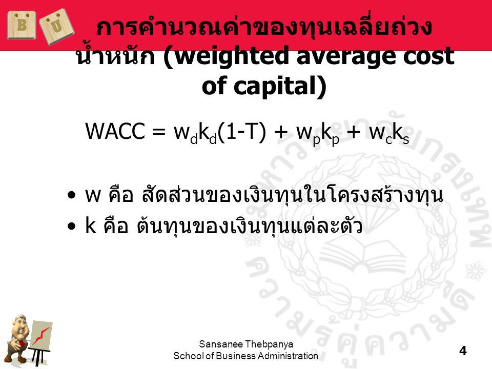 การคำนวณค่าของทุนเฉลี่ยถ่วงน้ำหนัก (weighted average cost of capital)