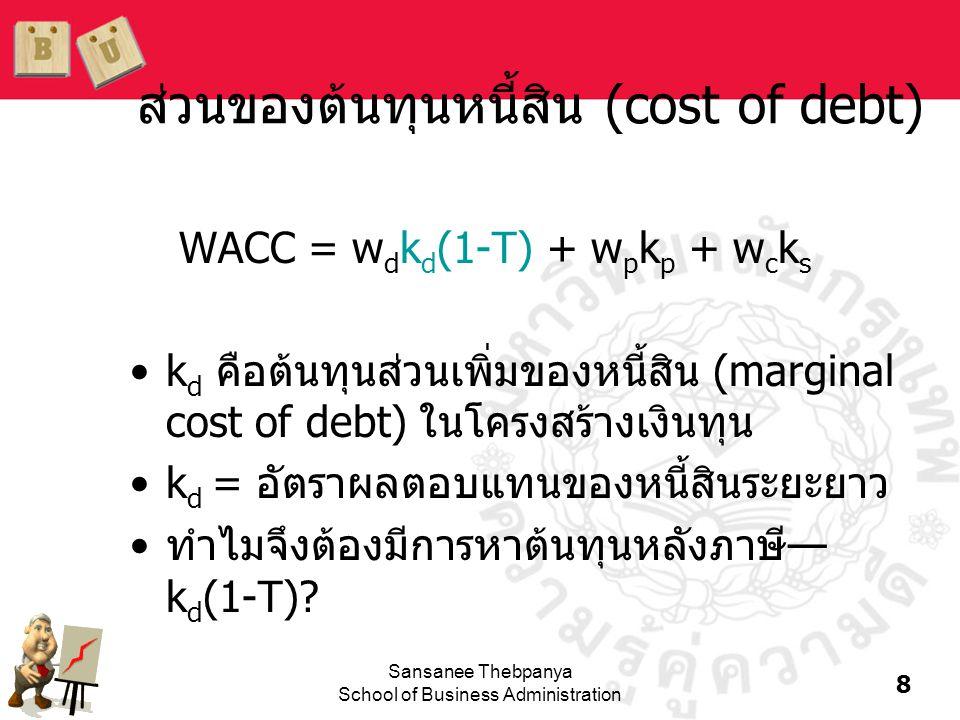 ส่วนของต้นทุนหนี้สิน (cost of debt)
