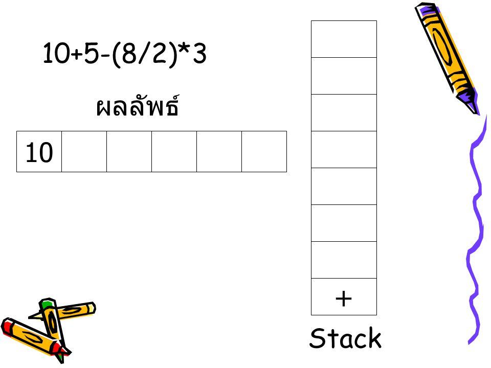 10+5-(8/2)*3 ผลลัพธ์ 10 + Stack