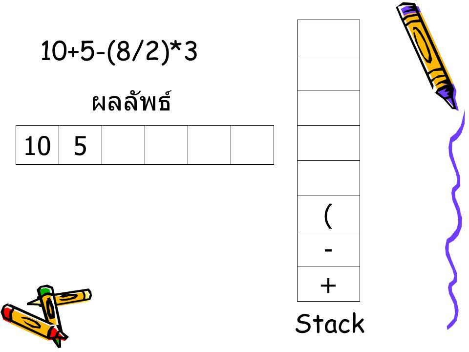 10+5-(8/2)*3 ผลลัพธ์ 10 5 ( - + Stack