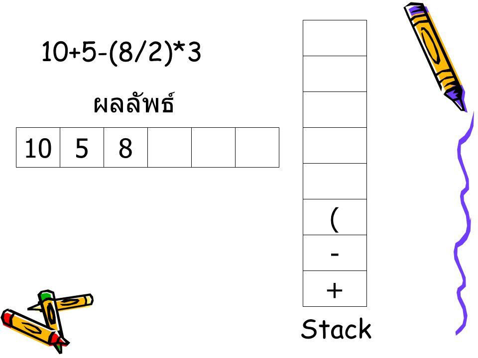 10+5-(8/2)*3 ผลลัพธ์ 10 5 8 ( - + Stack