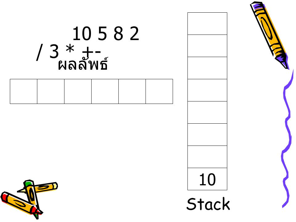 10 5 8 2 / 3 * +- ผลลัพธ์ 10 Stack