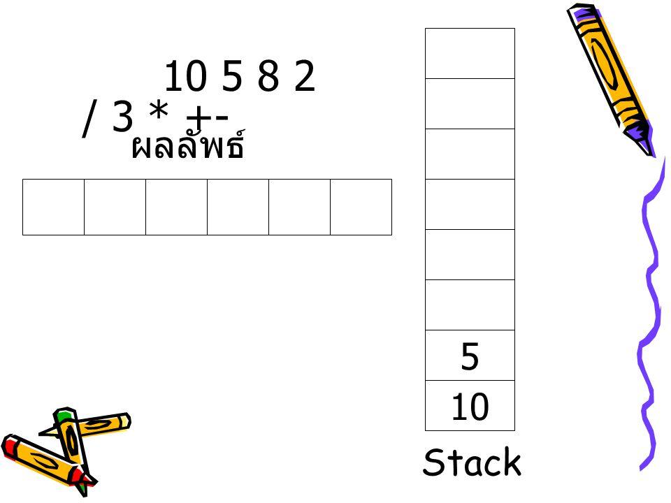 10 5 8 2 / 3 * +- ผลลัพธ์ 5 10 Stack