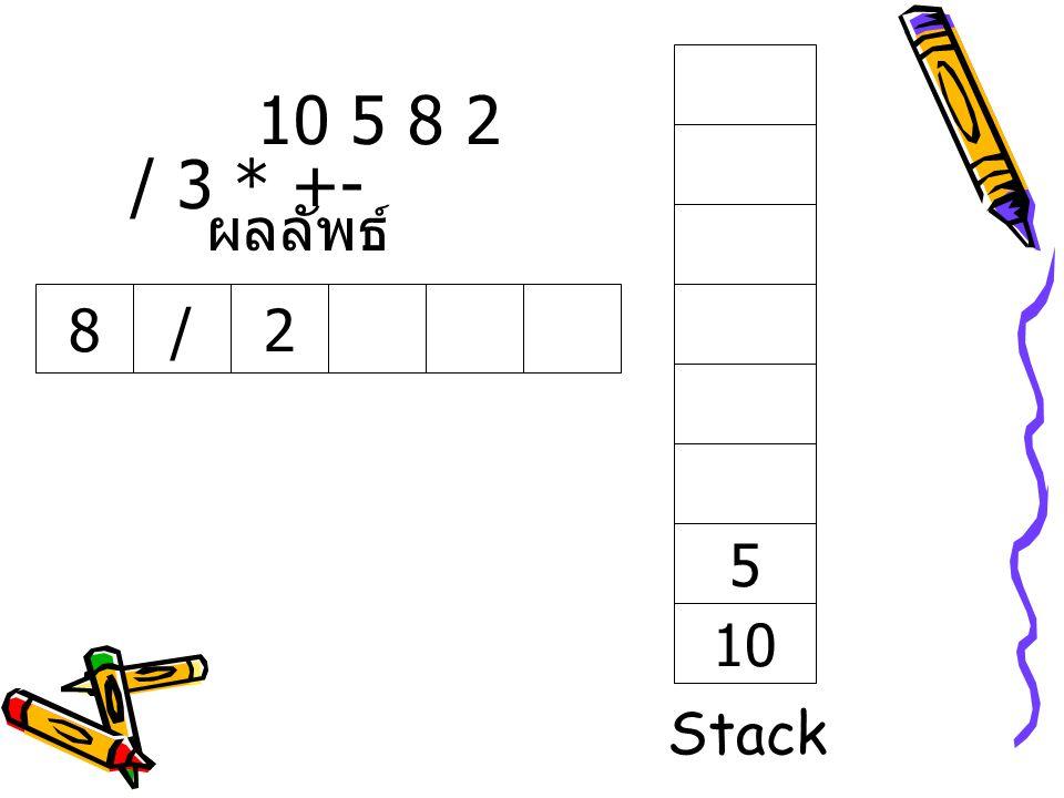 10 5 8 2 / 3 * +- ผลลัพธ์ 8 / 2 5 10 Stack