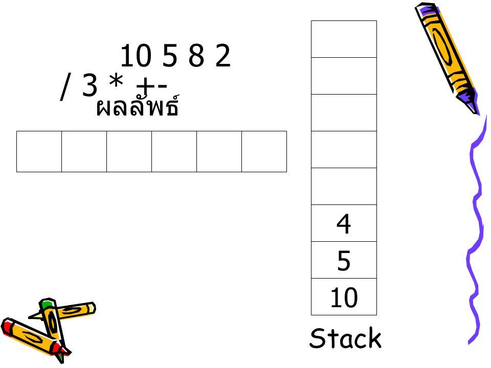 10 5 8 2 / 3 * +- ผลลัพธ์ 4 5 10 Stack
