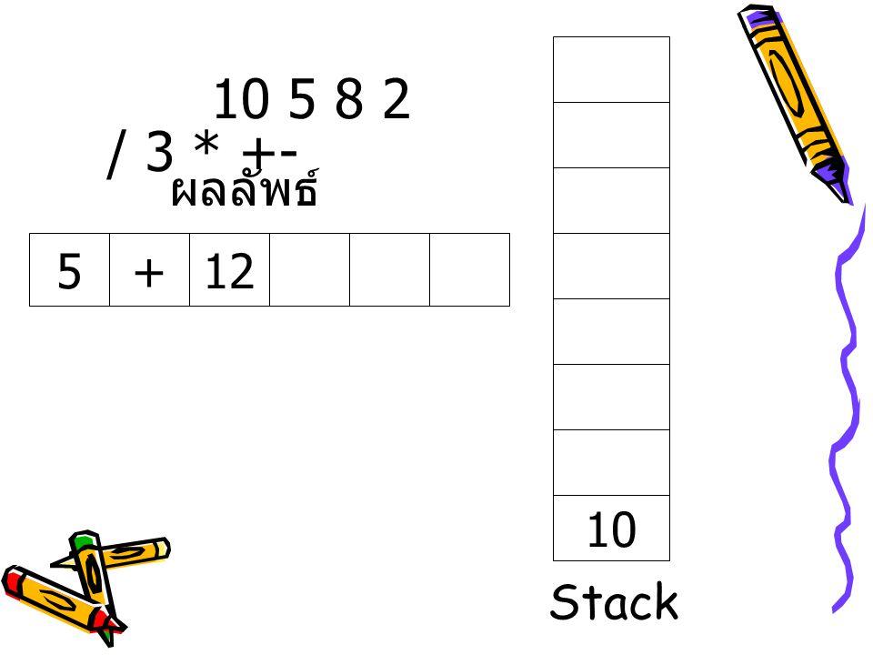10 5 8 2 / 3 * +- ผลลัพธ์ 5 + 12 10 Stack