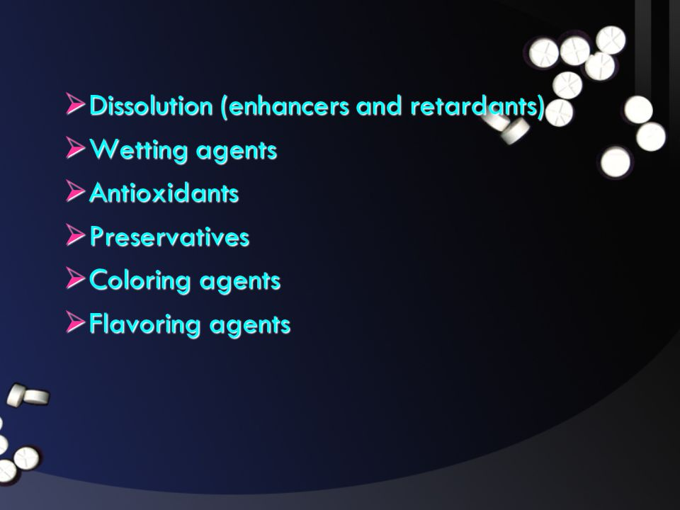 Dissolution (enhancers and retardants)