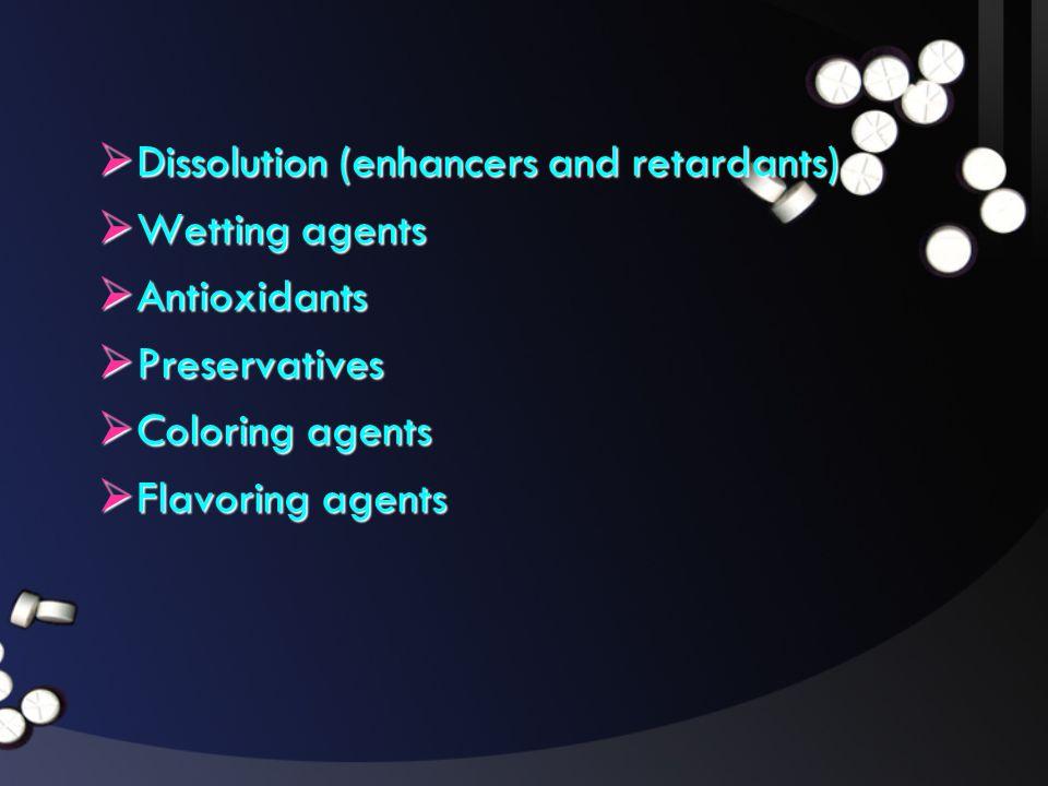 Dissolution (enhancers and retardants)
