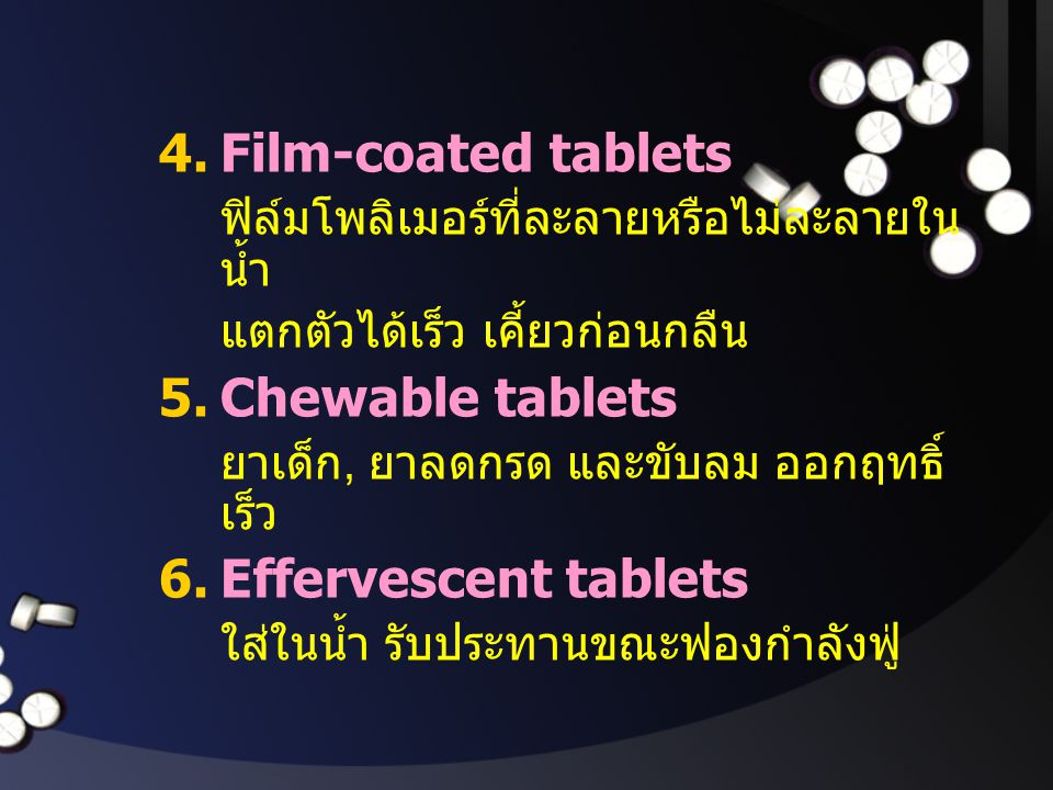 Film-coated tablets Chewable tablets Effervescent tablets