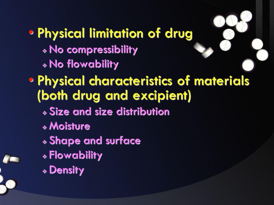 Physical limitation of drug