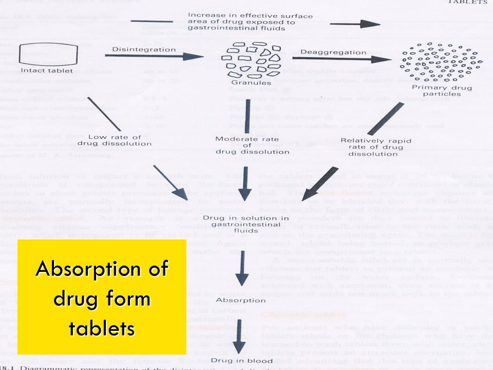 Absorption of drug form tablets