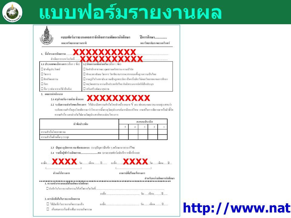 แบบฟอร์มรายงานผล xxxxxxxxxx xxxx http://www.natres.psu.ac.th/