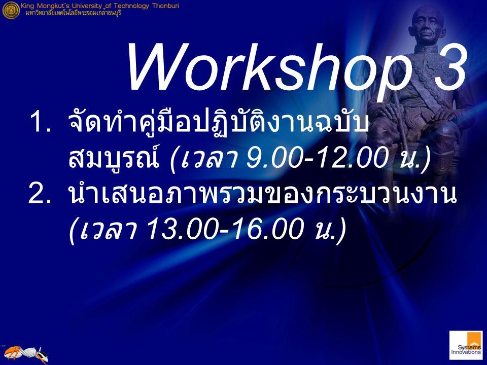Workshop 3 จัดทำคู่มือปฏิบัติงานฉบับสมบูรณ์ (เวลา 9.00-12.00 น.)