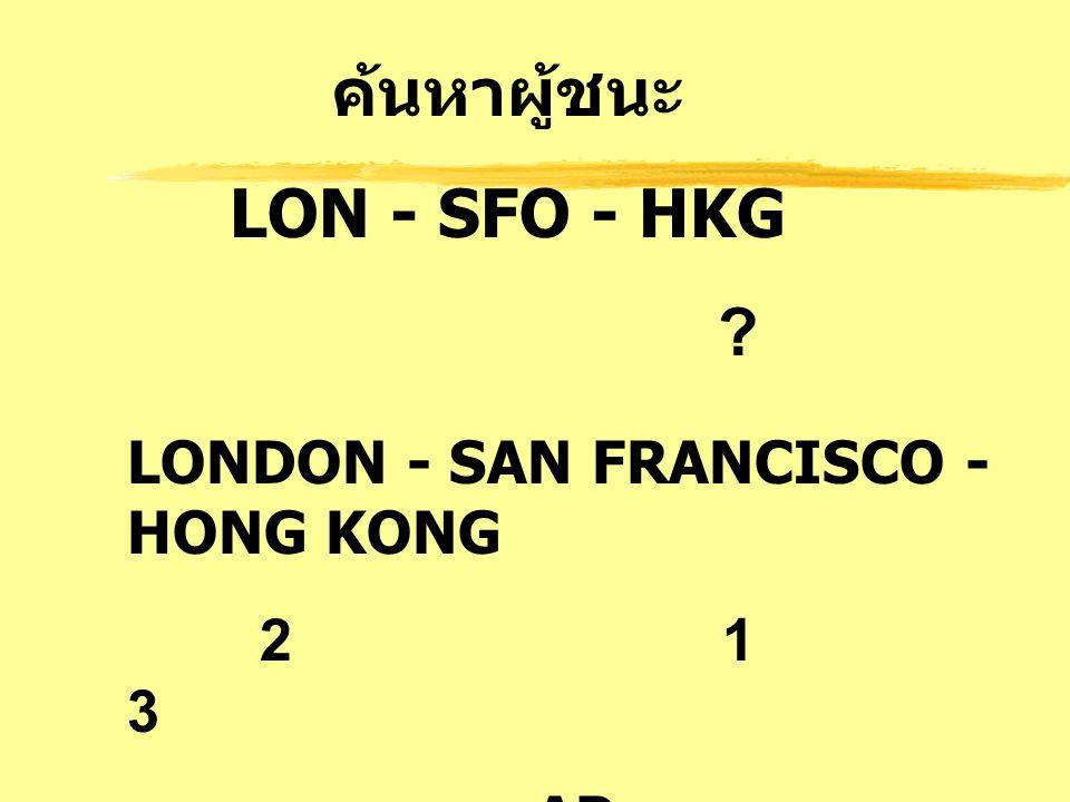 ค้นหาผู้ชนะ LON - SFO - HKG
