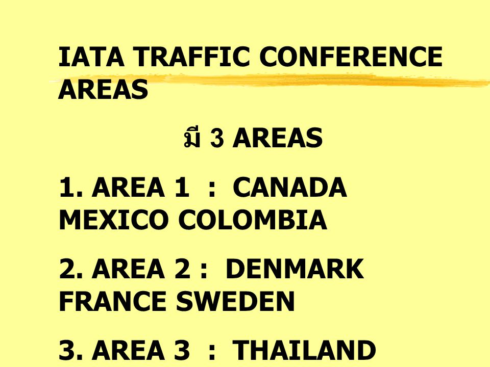 IATA TRAFFIC CONFERENCE AREAS