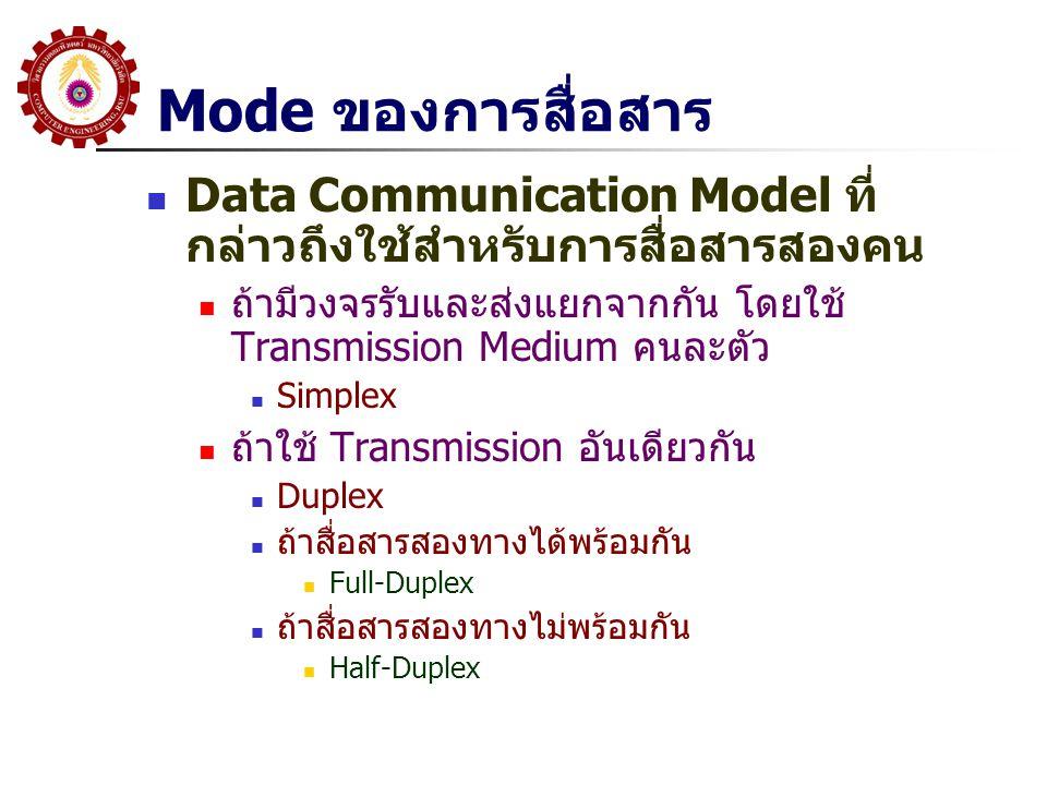 Mode ของการสื่อสาร Data Communication Model ที่กล่าวถึงใช้สำหรับการสื่อสารสองคน. ถ้ามีวงจรรับและส่งแยกจากกัน โดยใช้ Transmission Medium คนละตัว.