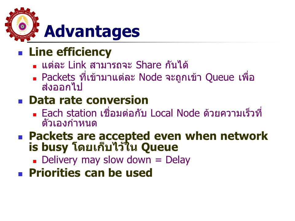 Advantages Line efficiency Data rate conversion