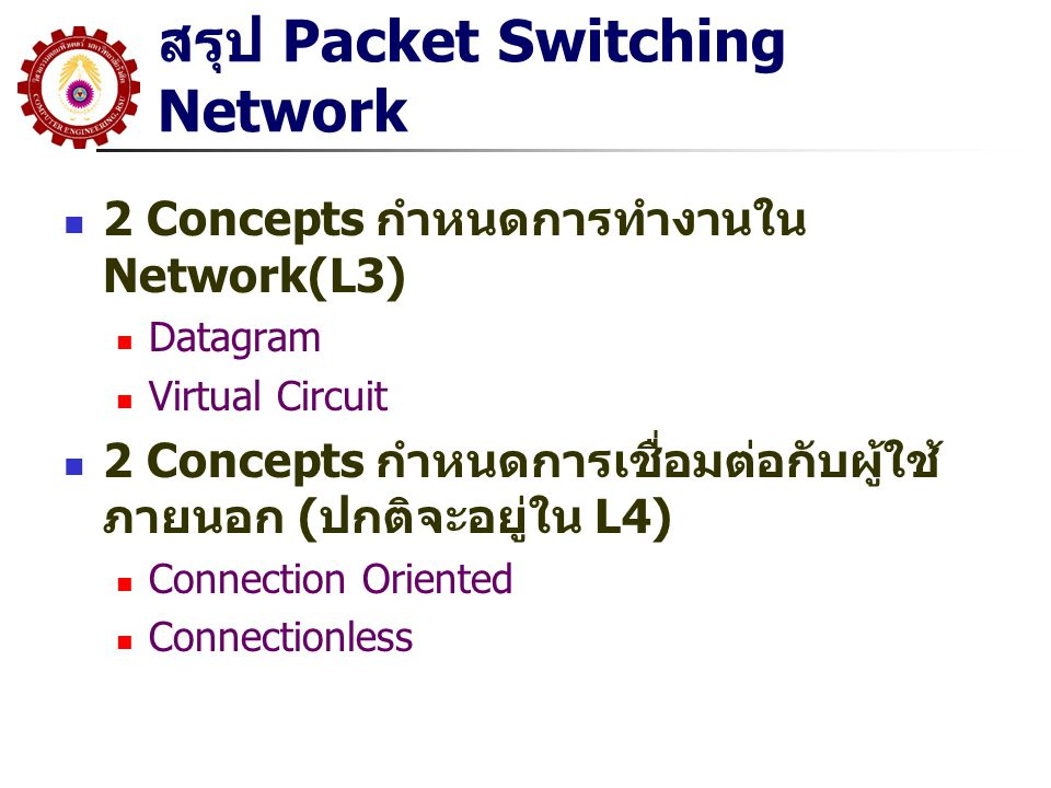 สรุป Packet Switching Network