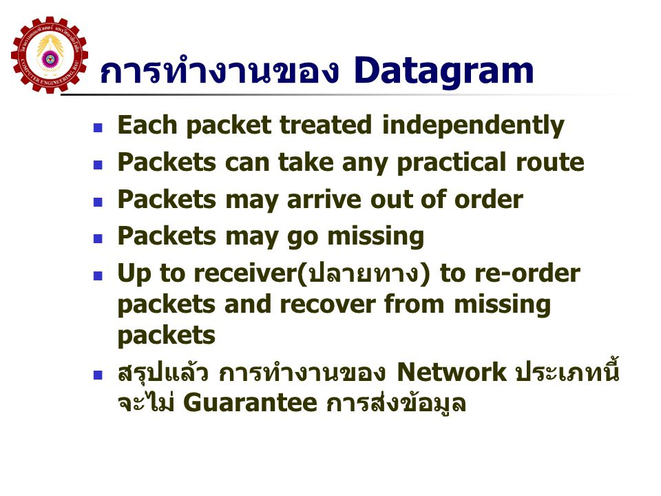 การทำงานของ Datagram Each packet treated independently