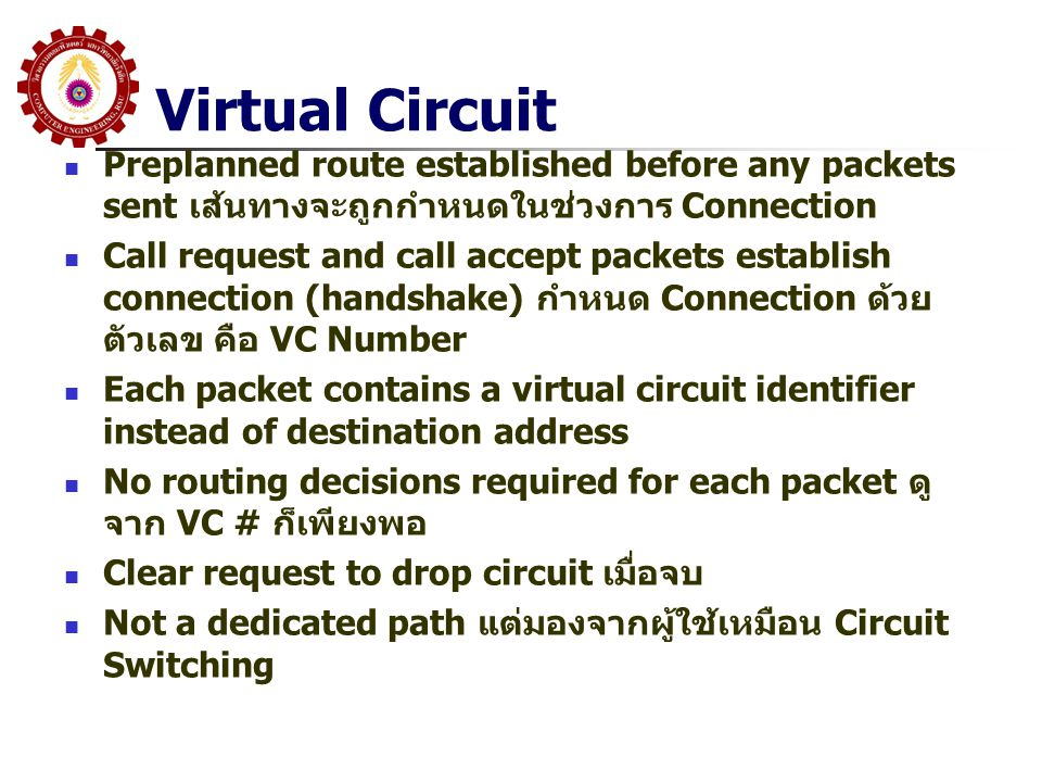 Virtual Circuit Preplanned route established before any packets sent เส้นทางจะถูกกำหนดในช่วงการ Connection.