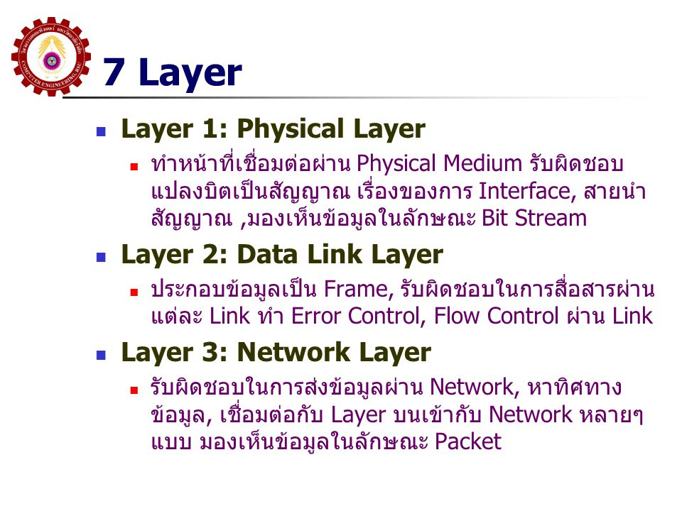 7 Layer Layer 1: Physical Layer Layer 2: Data Link Layer
