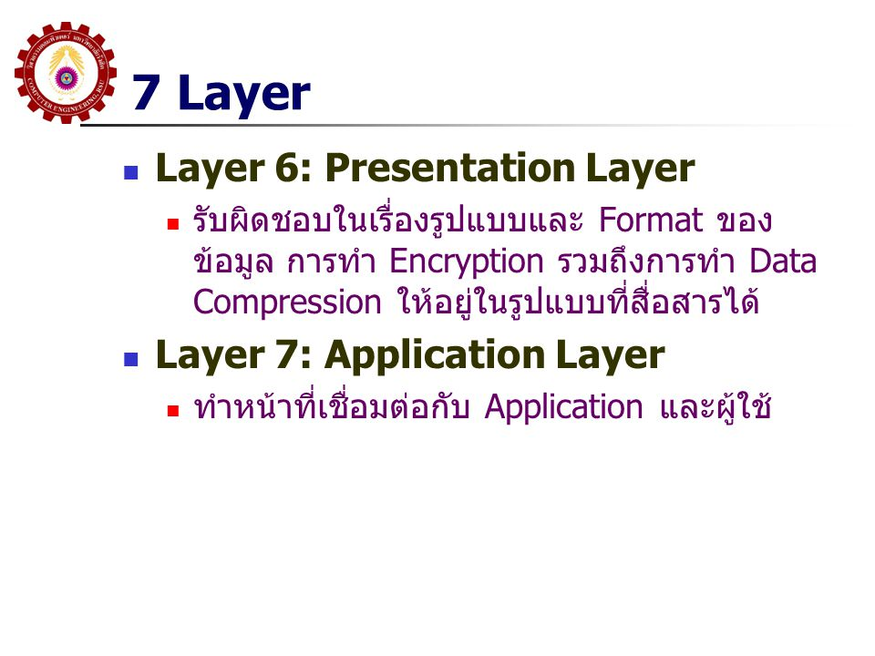 7 Layer Layer 6: Presentation Layer Layer 7: Application Layer
