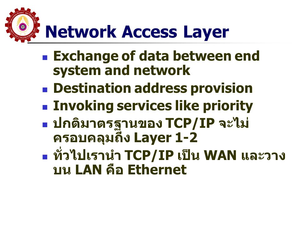 Network Access Layer Exchange of data between end system and network