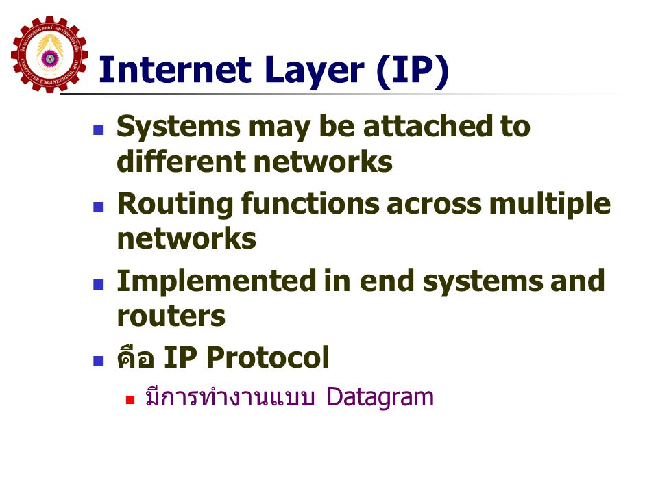 Internet Layer (IP) Systems may be attached to different networks