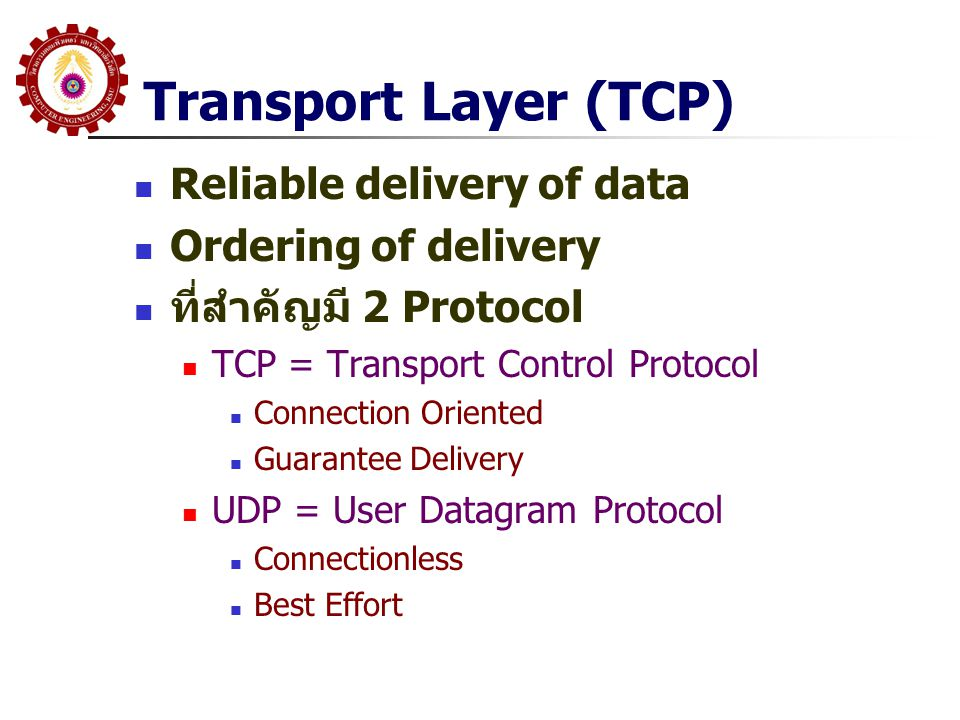 Transport Layer (TCP) Reliable delivery of data Ordering of delivery