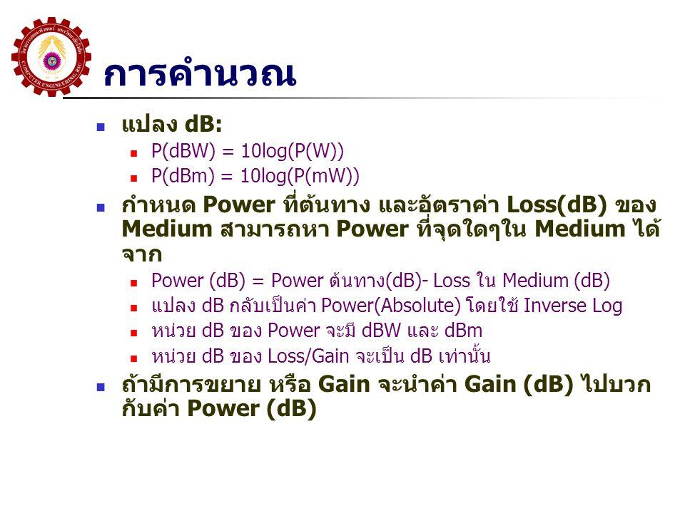 การคำนวณ แปลง dB: P(dBW) = 10log(P(W)) P(dBm) = 10log(P(mW))