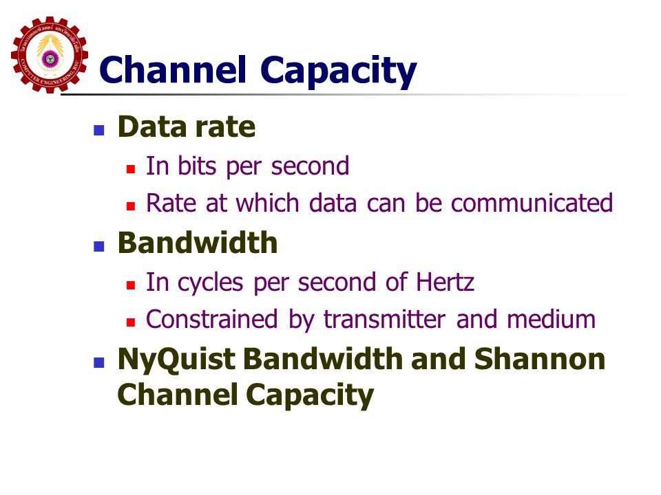 Channel Capacity Data rate Bandwidth