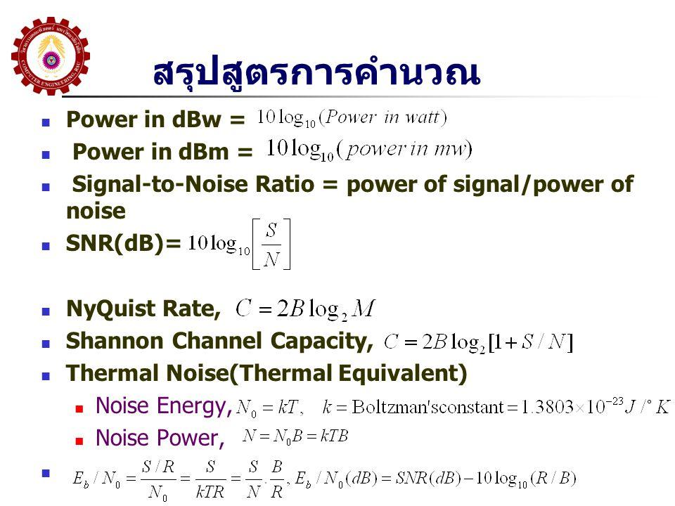 สรุปสูตรการคำนวณ Power in dBw = Power in dBm =