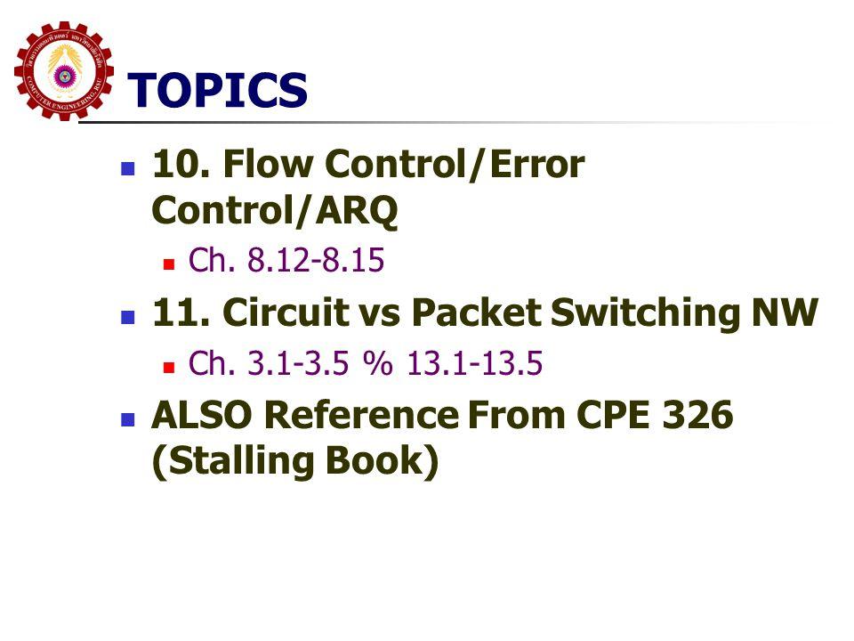 TOPICS 10. Flow Control/Error Control/ARQ