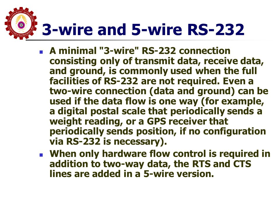 3-wire and 5-wire RS-232