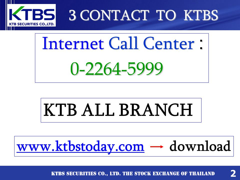 Internet Call Center : KTB ALL BRANCH 3 CONTACT TO KTBS