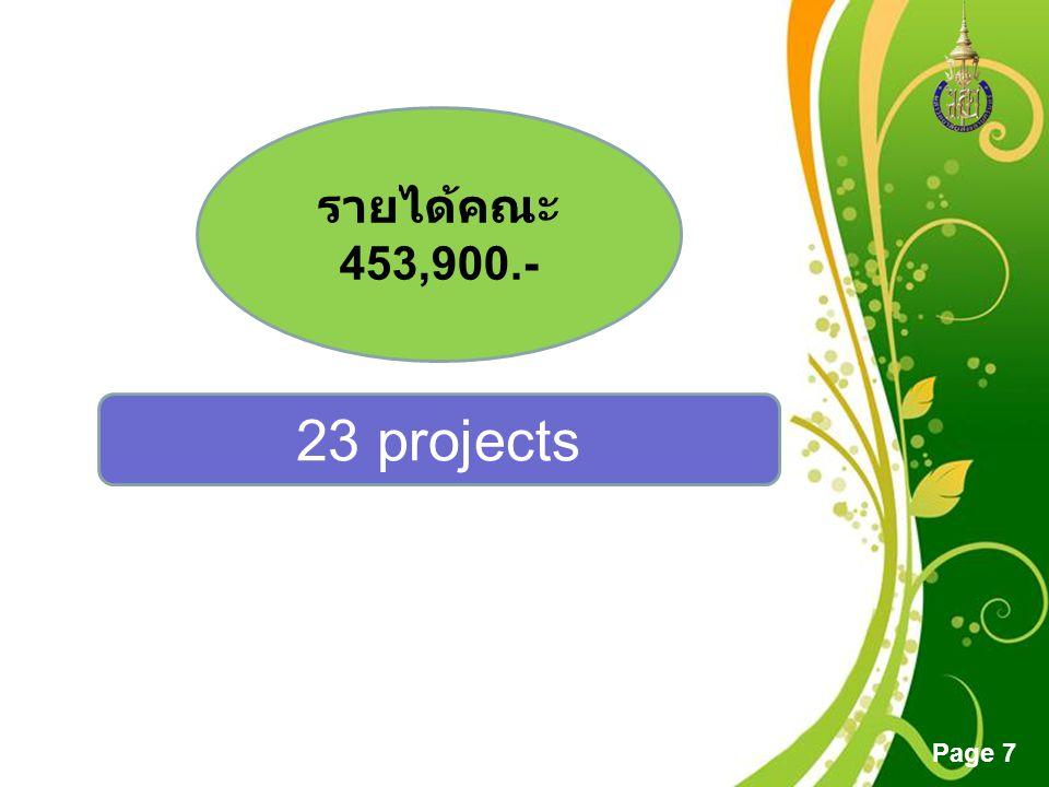 รายได้คณะ 453,900.- 23 projects